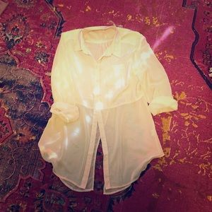Free People Sheer Tuxedo Tail Menswear Style Shirt